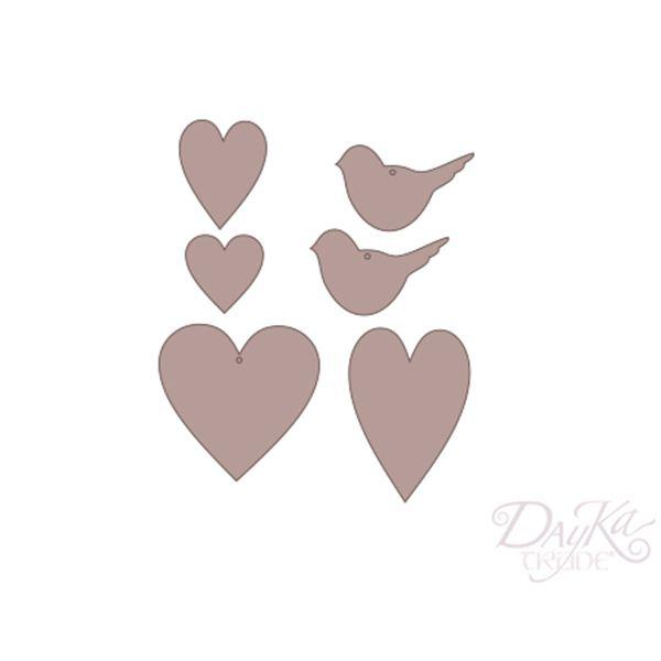 Set corazones y pajaros - CART-327