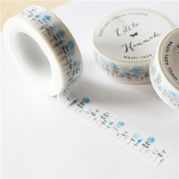 Washi tape little hannah-bosque azul - WT-HANA-AZUL