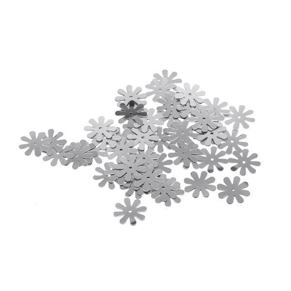 Lentejuelas margaritas plateadas 15mm 14gr - 99709