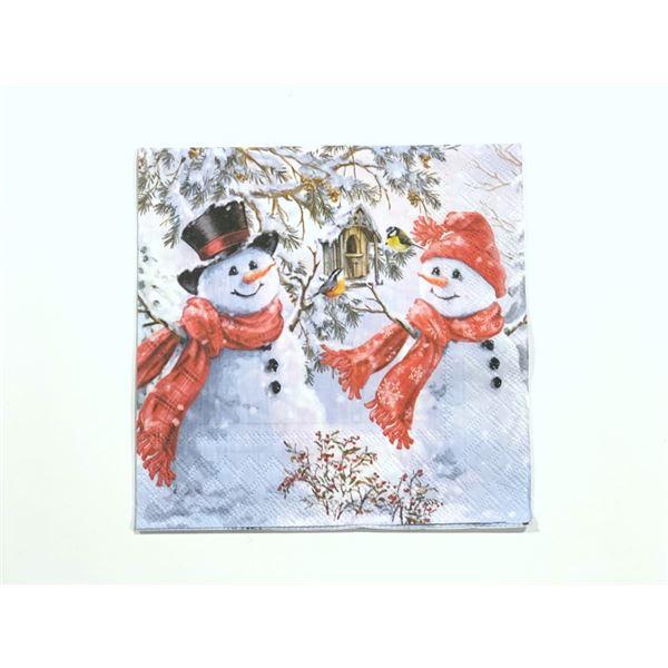 Snowmen and birds 33x33cm (1 unidad) - 8712159137835