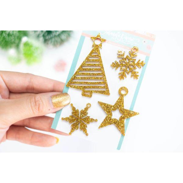 Pack bisuteria árbol y estrellas de navidad oro purpurina - JRBISU002