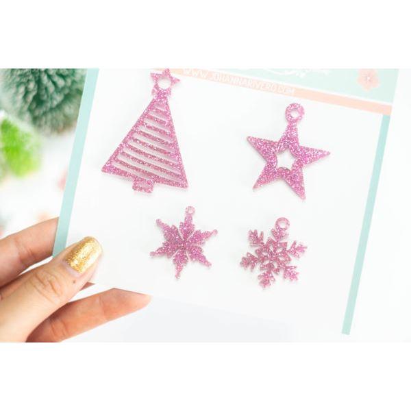 Pack bisuteria árbol y estrellas de navidad rosado - JRBISU002.4