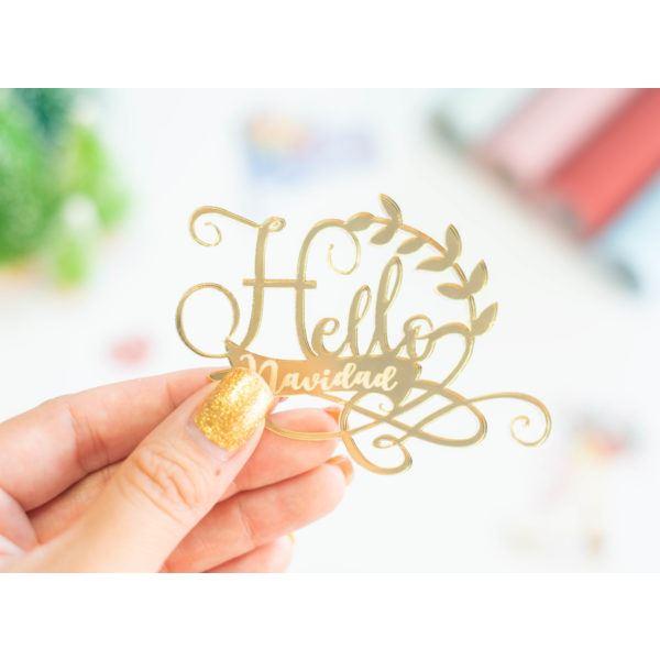 Frase metacrilato oro hello navidad - JRFRA01