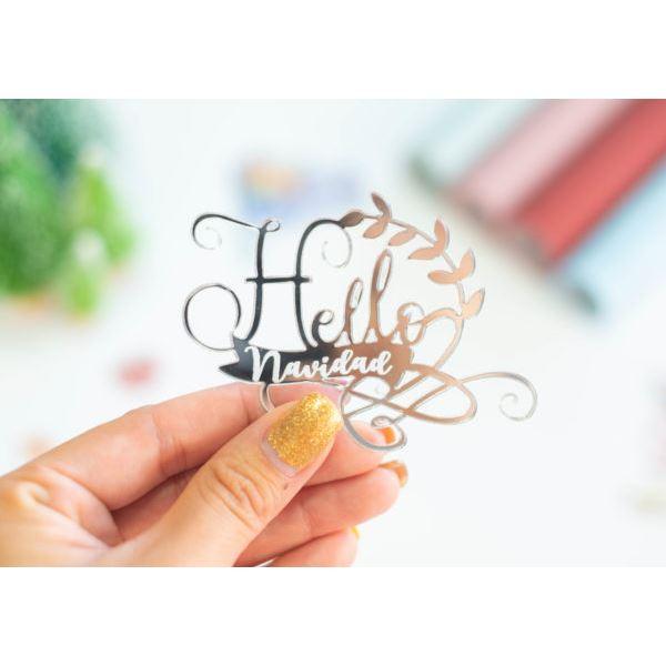 Frase metacrilato plata hello navidad - JRFRA02